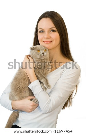 Young woman with scottish-fold cat isolated on white background - stock photo