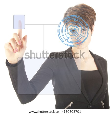 Young woman with security iris and fingerprint scan isolated on white background - stock photo