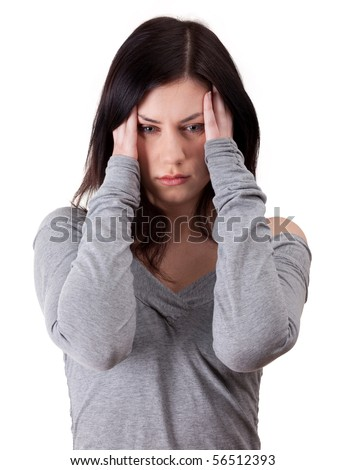 young woman with severe headache, holding hands on head