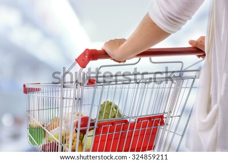 Young woman with shopping cart in store - stock photo