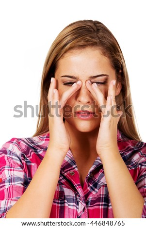 Young woman with sinus ache - stock photo