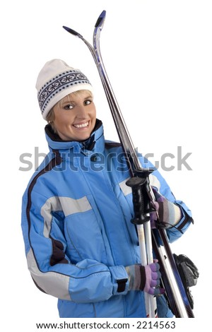 young woman with ski on white background - stock photo
