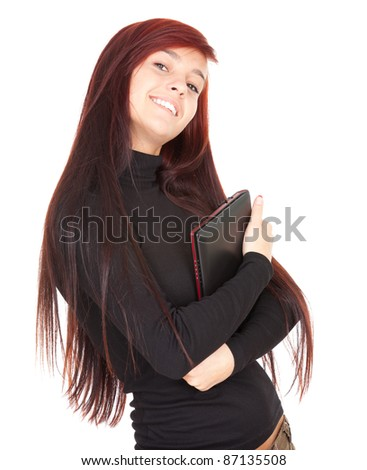 young woman with small laptop, notebook, white background - stock photo