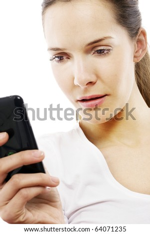 young woman with smart phone on white background studio