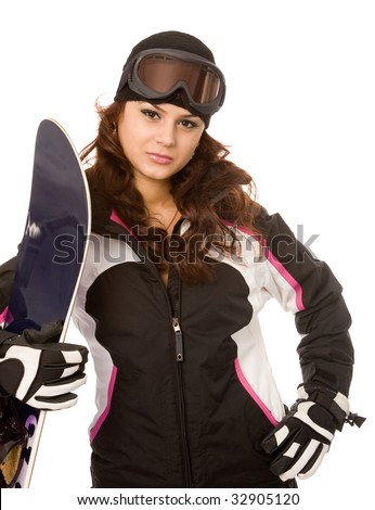 young woman with snowboard on a white background