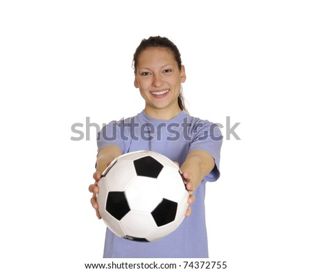 young woman with soccer ball - stock photo