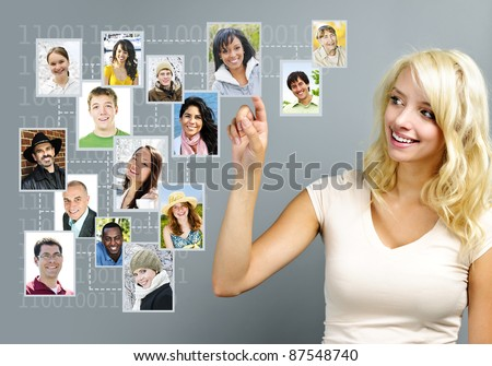 Young woman with social network of friends - stock photo