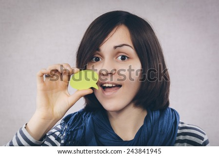 young woman with stickers