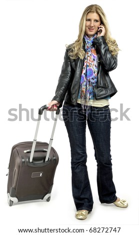 young woman with suitcase - stock photo