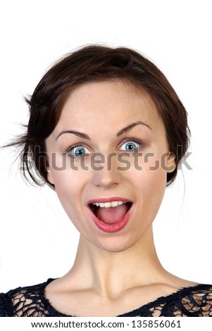Young woman with surprised expression on white background