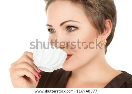Young woman with tea or coffee cup isolated on white background