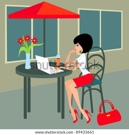 Young woman with the laptop in cafe.  Raster illustration