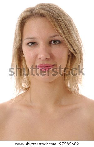 young woman with the naked bust with the chest hidden on white zone - stock photo