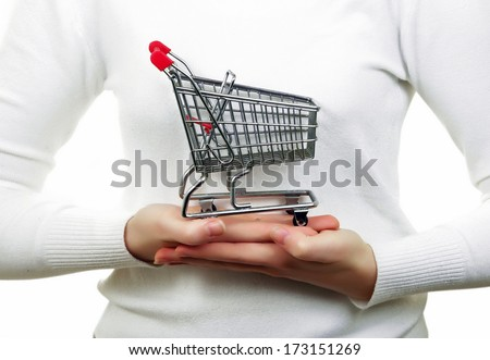 young woman with the shopping trolley