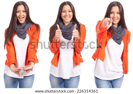 young woman with thumbs up, white background - stock photo