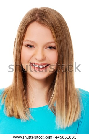 Young woman with toothy smile
