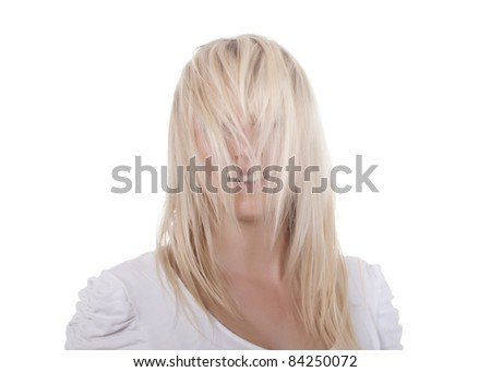 young woman with tousled hairs - stock photo