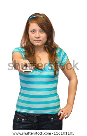 Young woman with tv remote control - stock photo