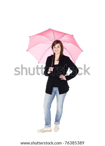 Young woman with umbrella isolated on white background - stock photo