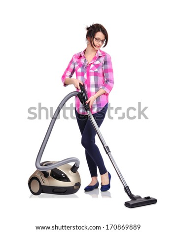 Young woman with vacuum cleaner on a white background