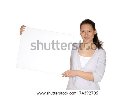 young woman with white billboard - stock photo