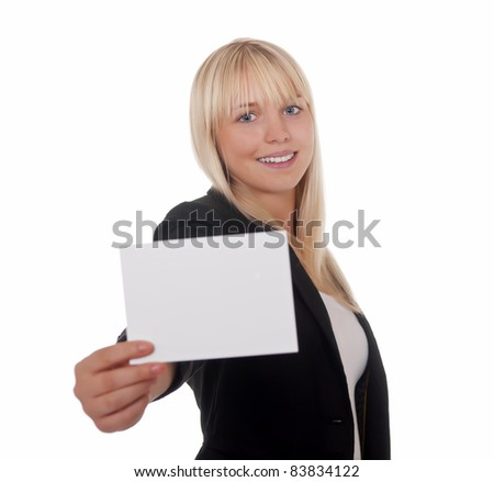 young woman with white business card - stock photo