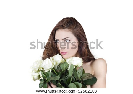 Young woman with white roses