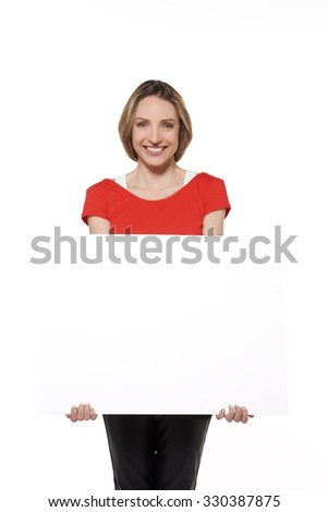 Young woman with whiteboard - stock photo