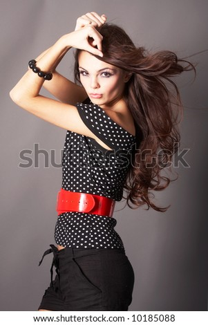 Young Woman with Windswept Hair - stock photo