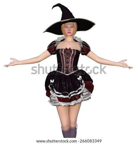 young woman with witch costume
