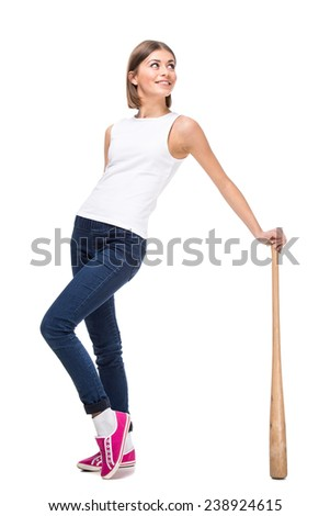 Young woman with wooden baseball bat, isolated on white background. - stock photo