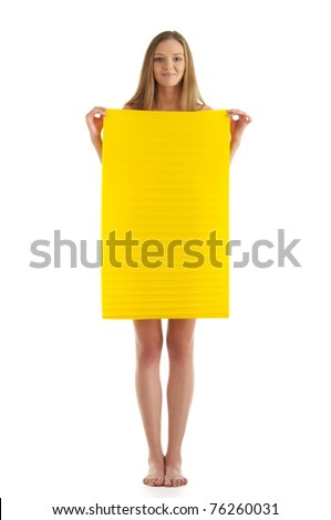 Young woman with yellow sheet of paper isolated in white