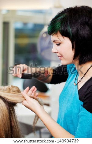 young woman working at the hairdresser salon - stock photo