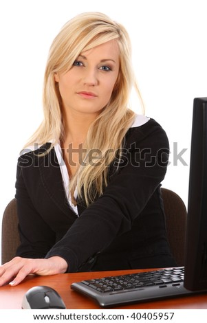Young woman working in office - stock photo