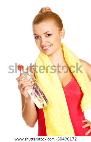 Young woman working out, white background - stock photo