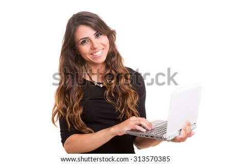Young woman working with her laptop, isolated over a white background - stock photo