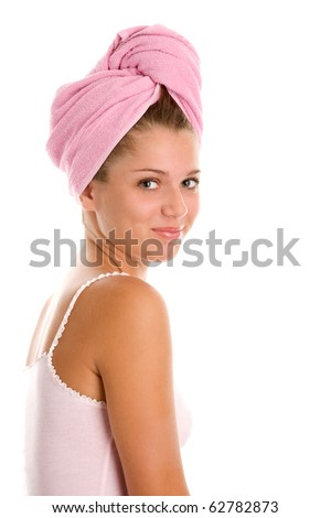 Young woman wrapped towel - stock photo