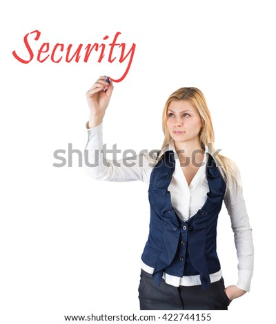 Young woman writes the word safety. Isolated on white background