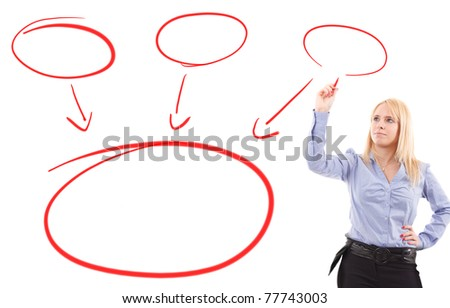 Young woman writing an organization chart on a blankboard - stock photo