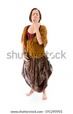 Young woman yawning - stock photo