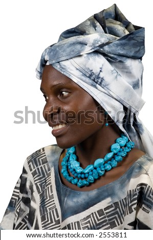 Young woman Zimbabwe, wearing different traditional African clothing - stock photo