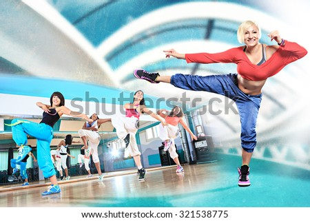 young women at aerobics or fitness training - stock photo
