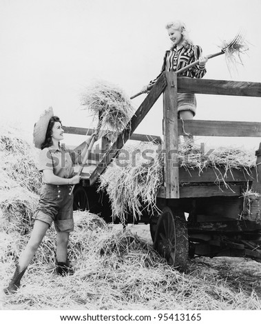 Young women bucking hay - stock photo