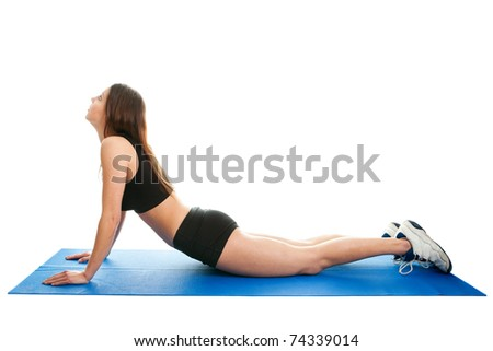 Young women doing core stretch - stock photo