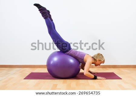 Young women  doing  pilates  exercises with fitness ball.Pilates