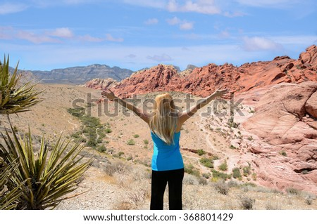 Young women enjoying life, Red Rock Canyon, Nevada, USA. - stock photo