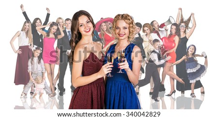 Young women foreground on the people crowd background isolated on white - stock photo