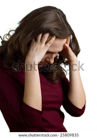 Young women have a headache. Isolation on white background - stock photo