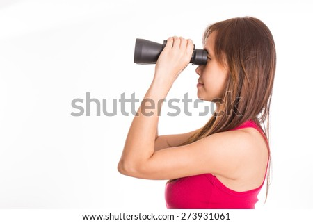 Young women holding binocular for search information with white background - stock photo