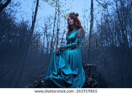 young women in a blue long dress in the forest - stock photo